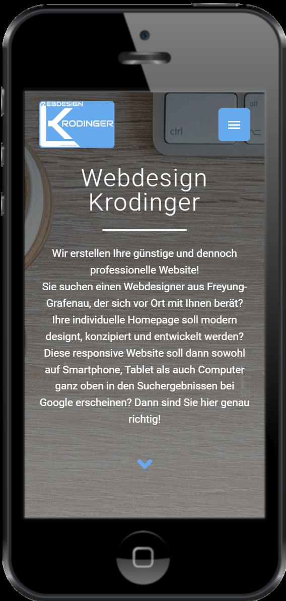 Webdesign Krodinger - Mobile Version auf Handy